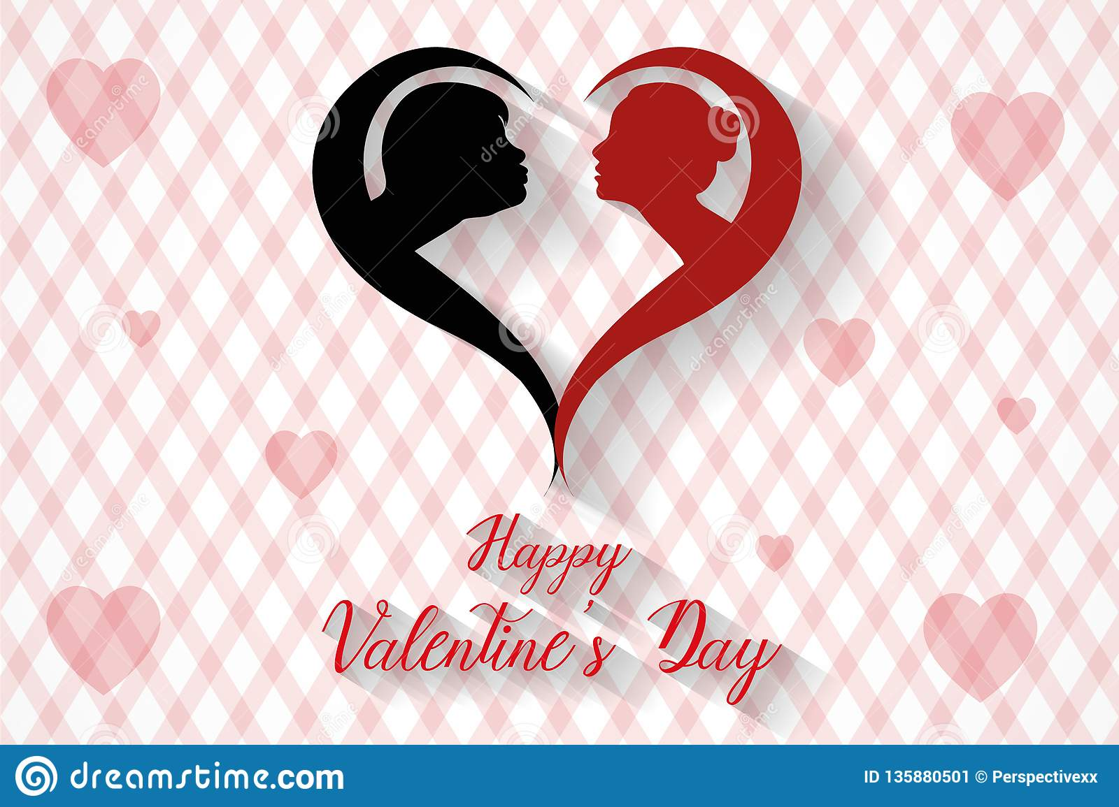 Happy valentine`s day kissing couples silhouette background, vector