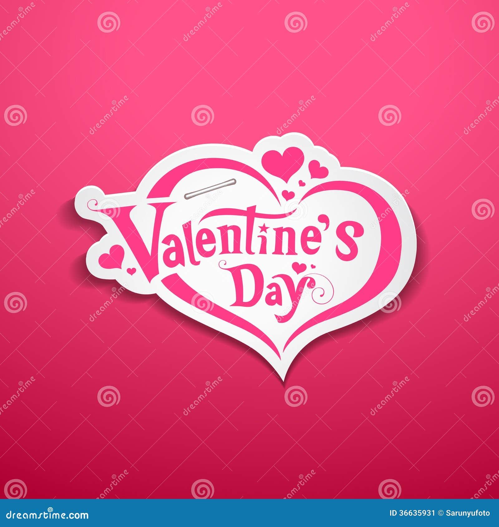 Happy Valentines Day Lettering Design Stock Illustration