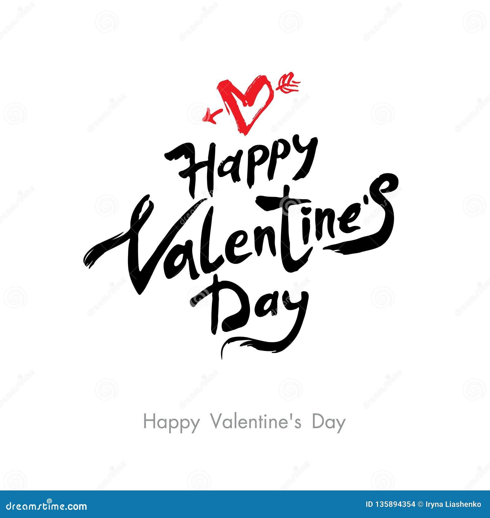 Happy Valentine`s Day modern calligraphy. Valentines day holidays typography. Handwritten lettering.