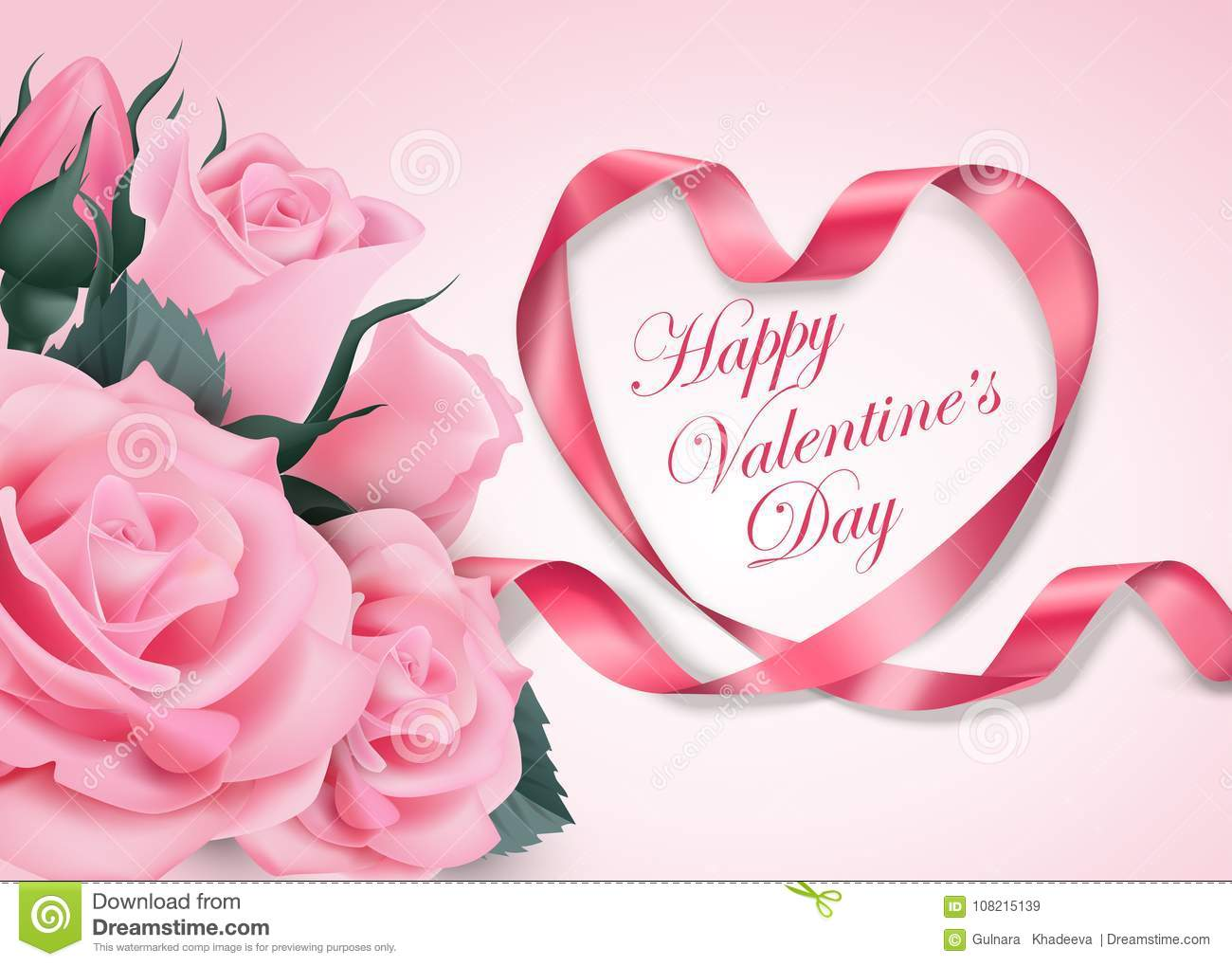 Happy Valentines Day Pink Ribbon Heart With Delicate Pink