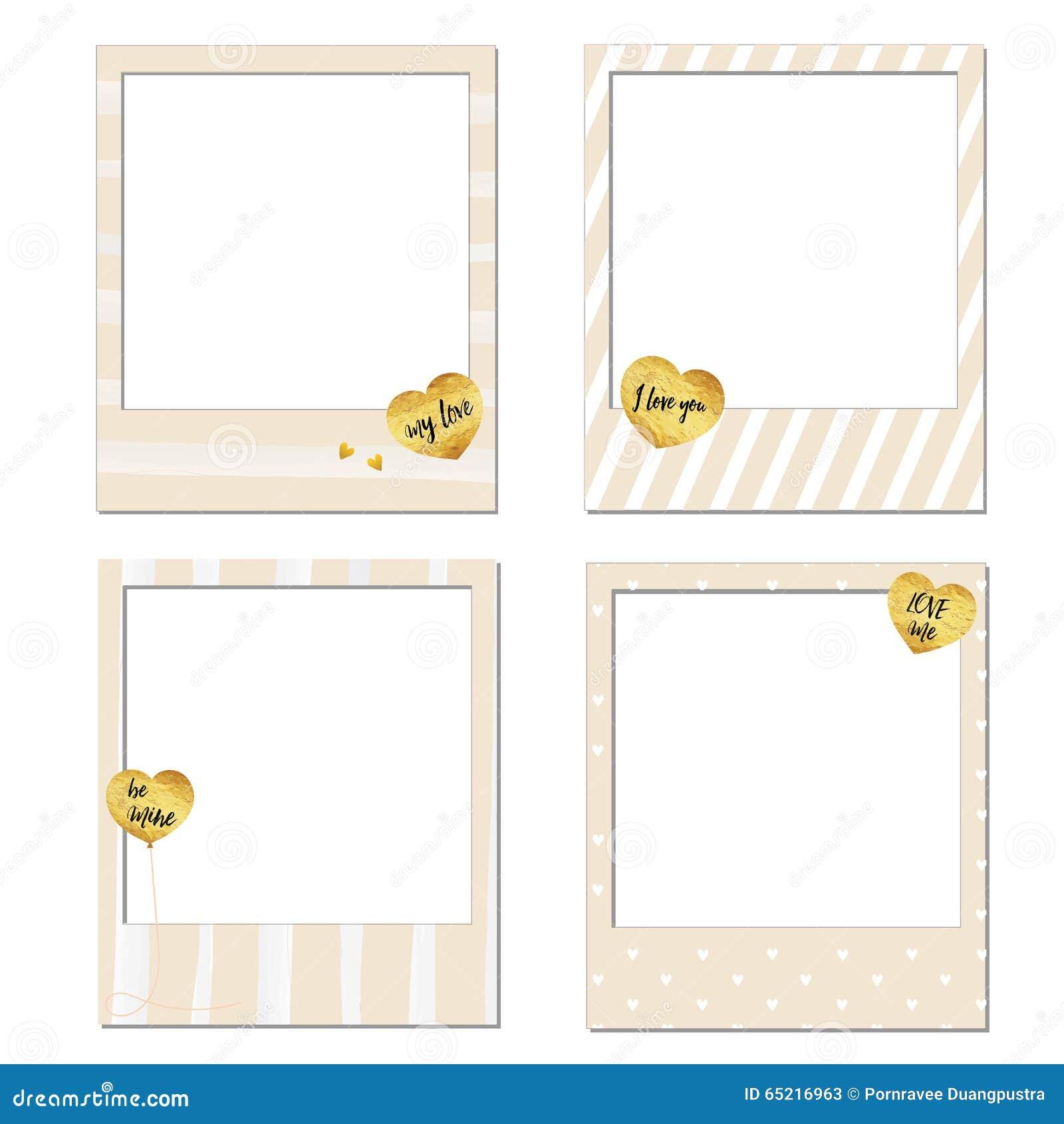 happy valentine s day polaroid frames stock vector illustration of