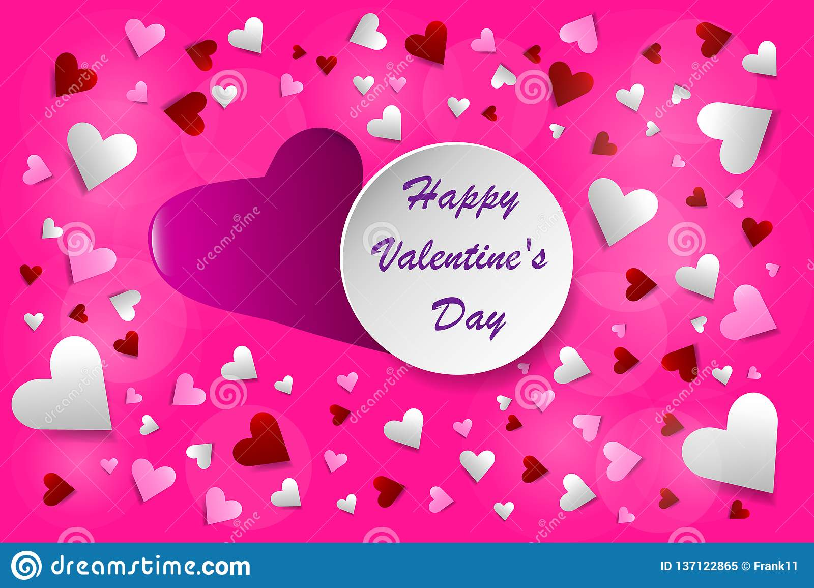 Happy Valentine\'s Day postcard pink vector royalty free stock photo