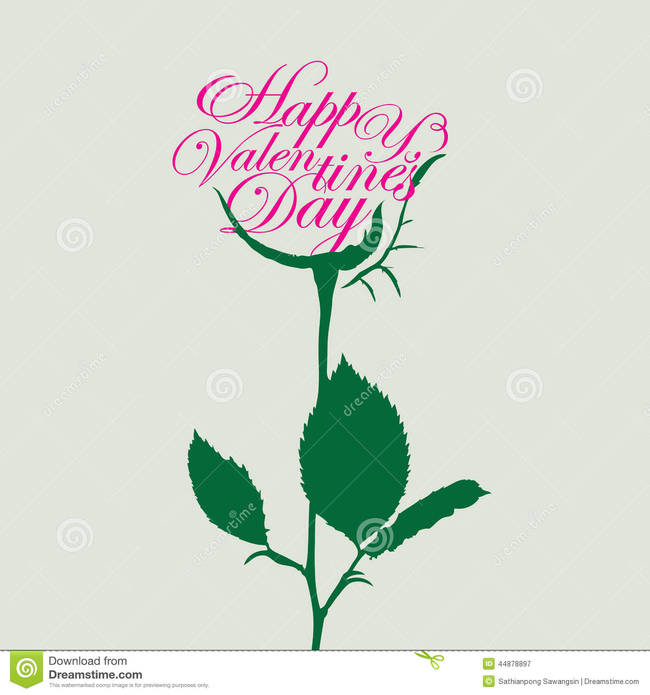 Happy Valentine S Day And Rose Stock Vector Illustration Of Green