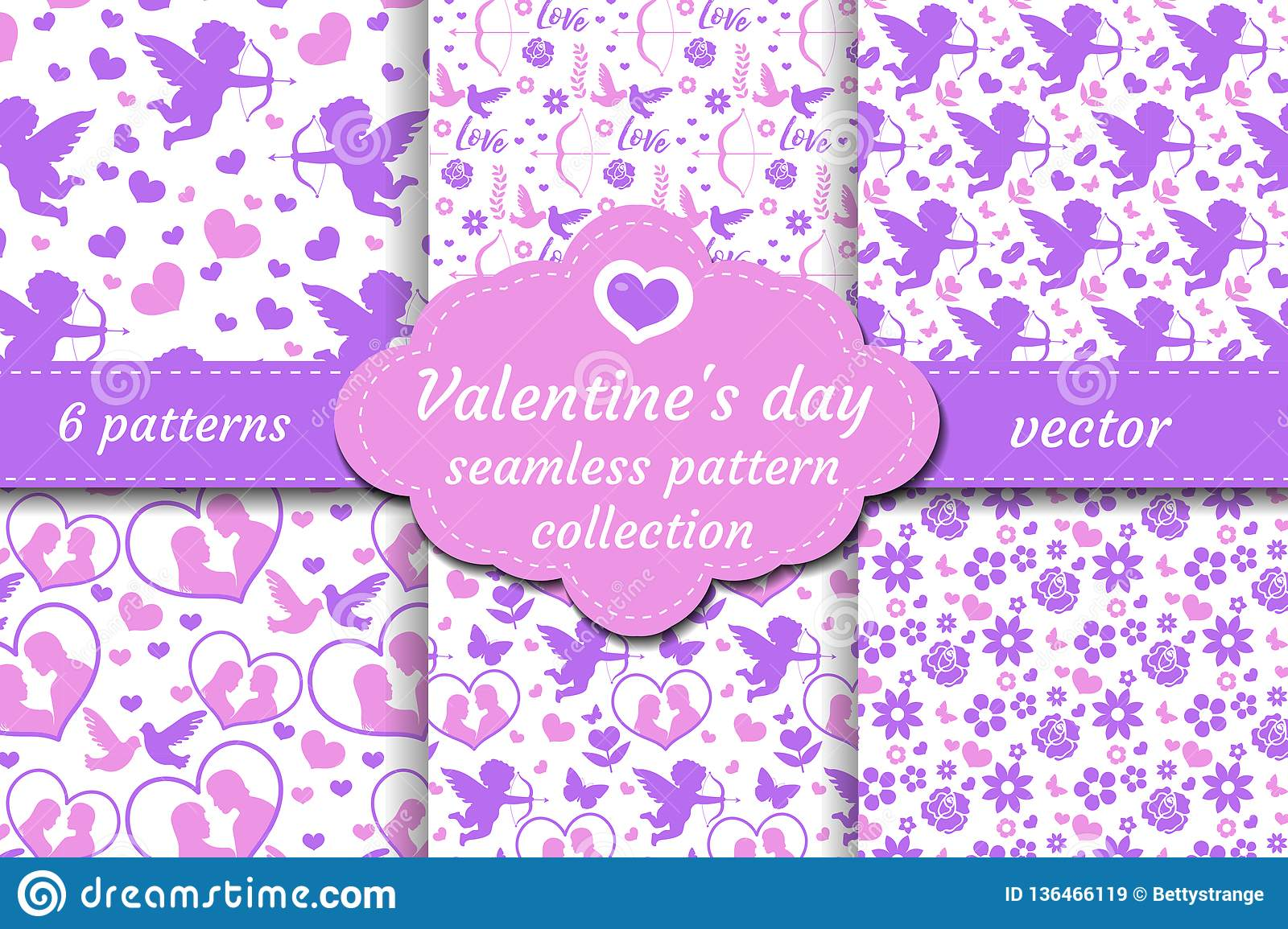 Happy Valentine s Day seamless pattern set. Collection Cute romantic love endless background. Cupid, heart, flowers