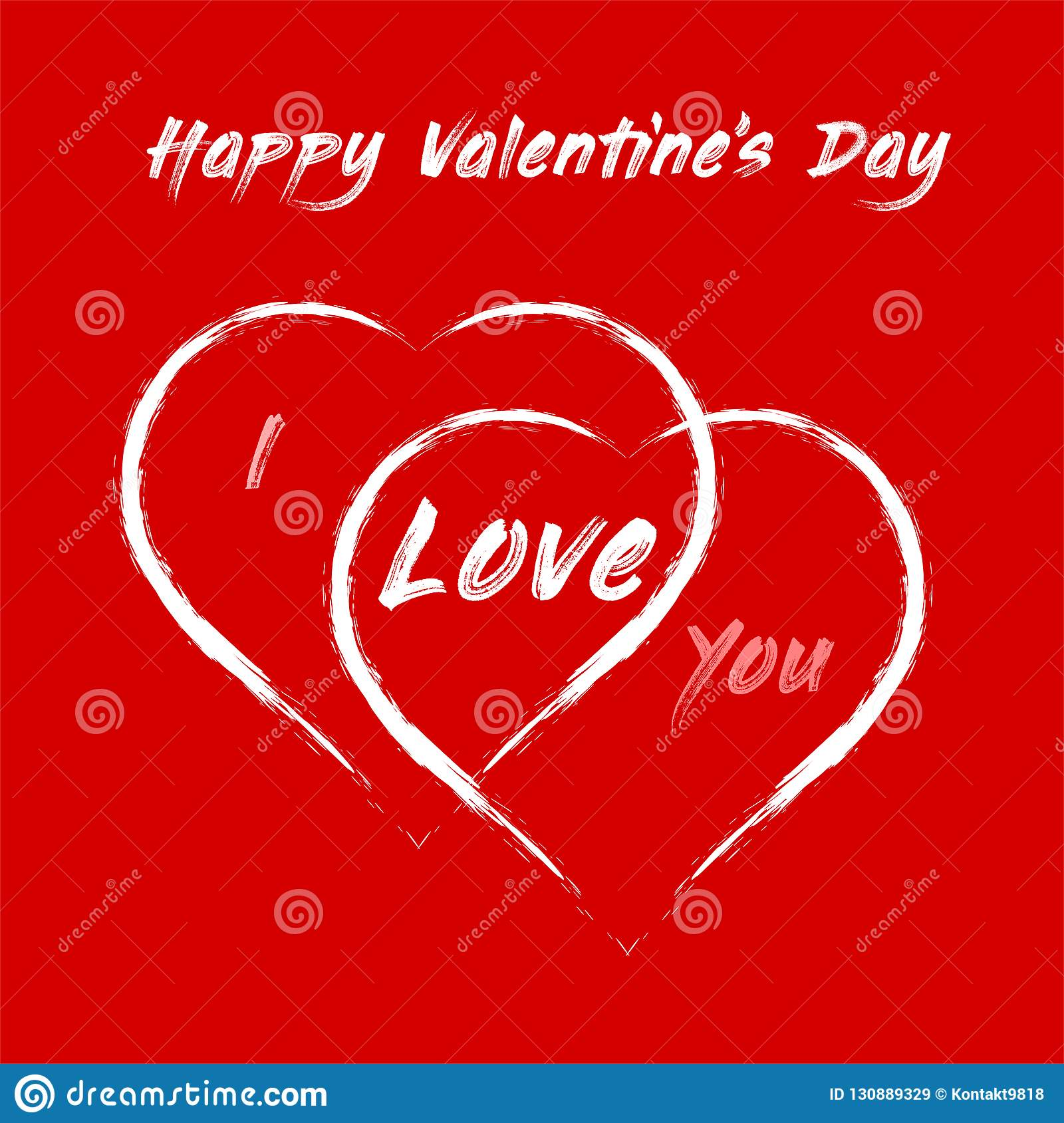 Happy Valentine`s Day - two big hearts and declaration of love