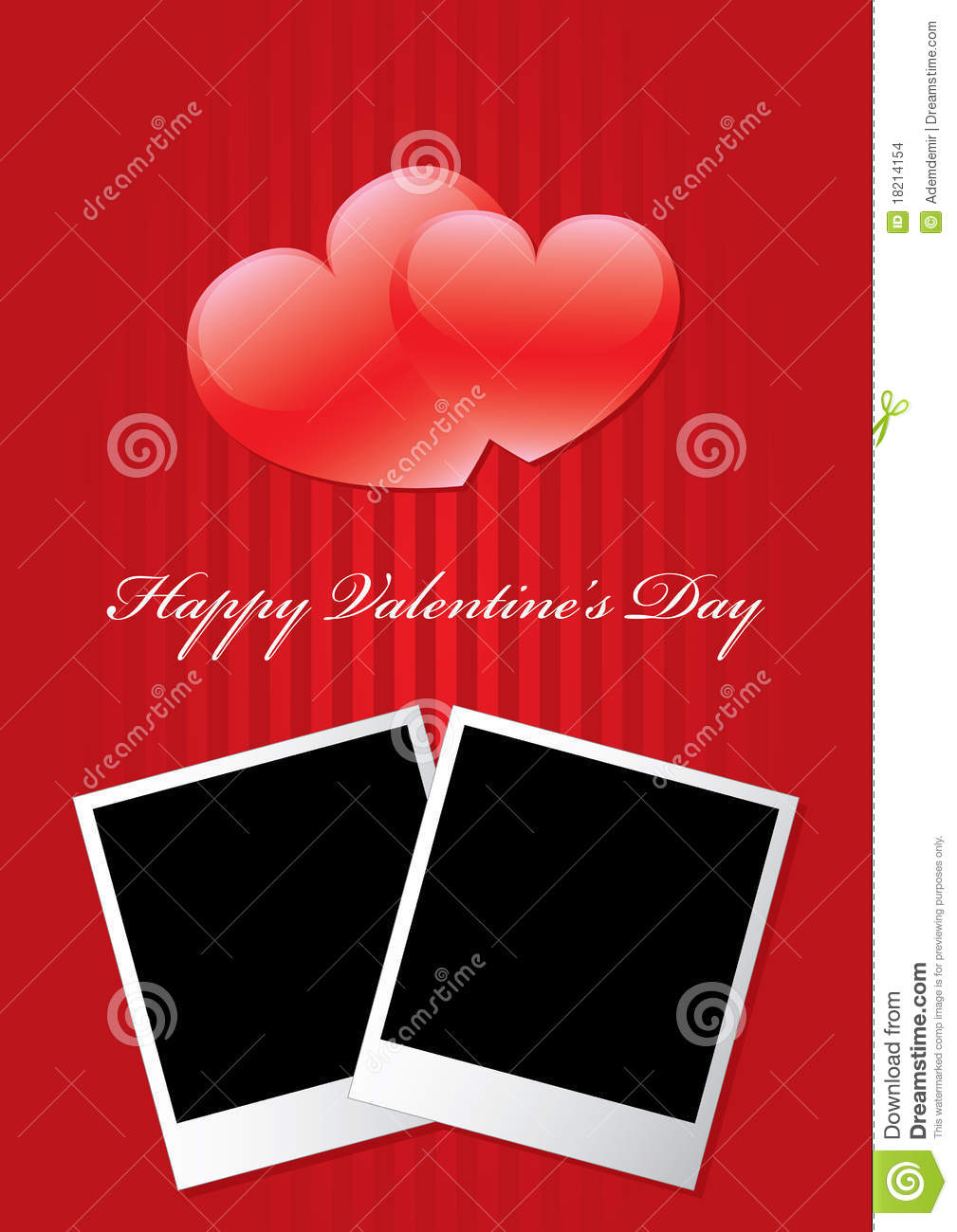 Happy Valentine S Day Two Picture Frame Stock Vector Illustration