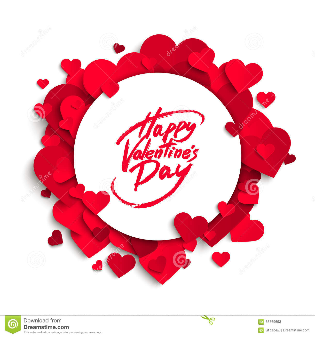 Happy Valentine S Day Vector Greeting Card Brush Pen Lettering On