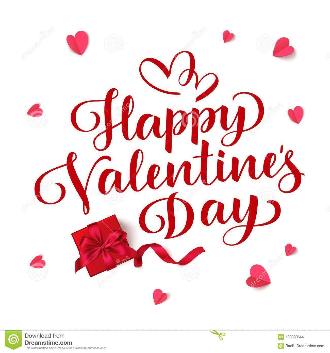 Happy Valentines Day Vector Lettering Holiday Greeting Text