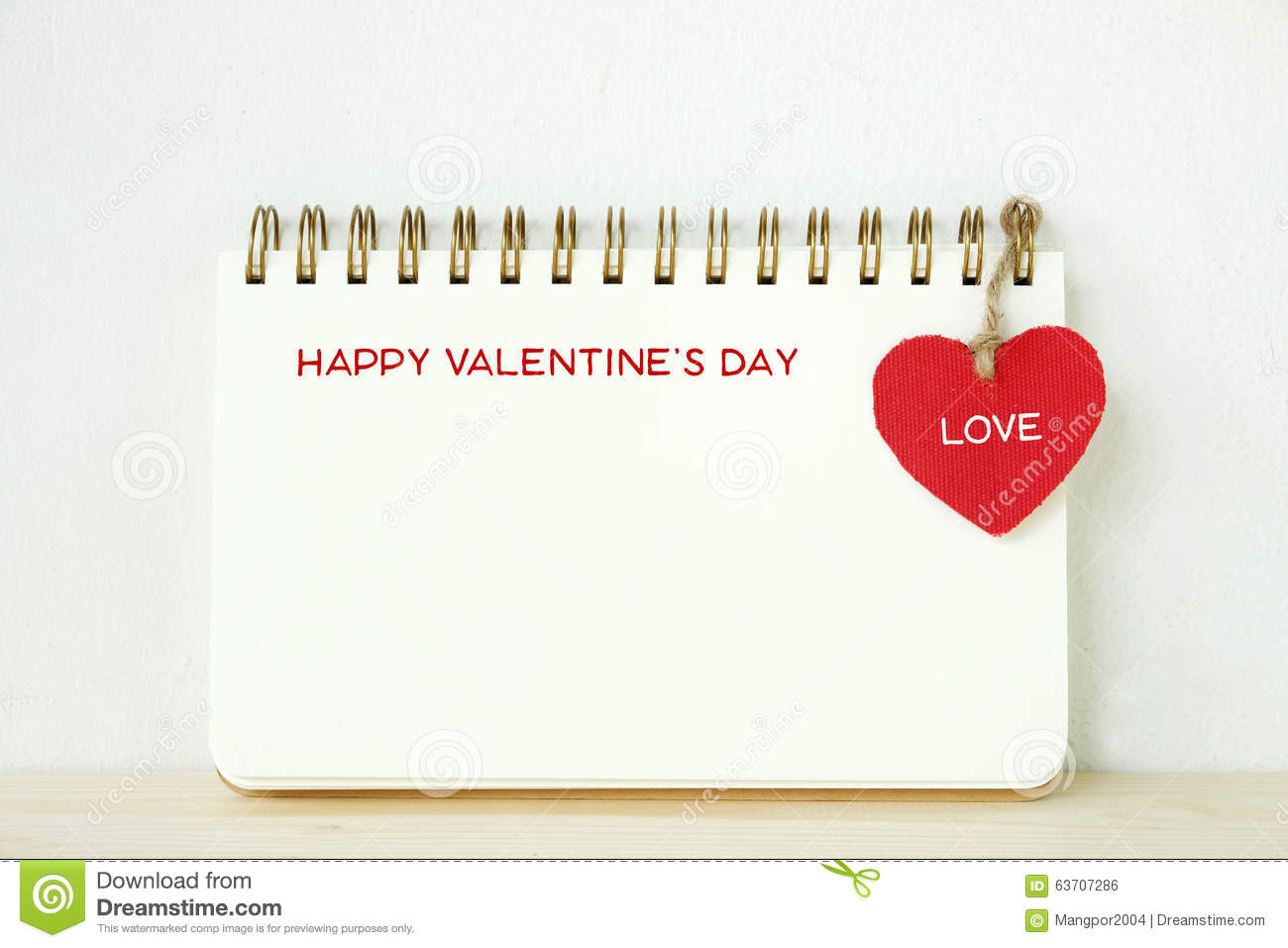 Happy Valentine S Day Words On Blank Note Book With Hanging Red