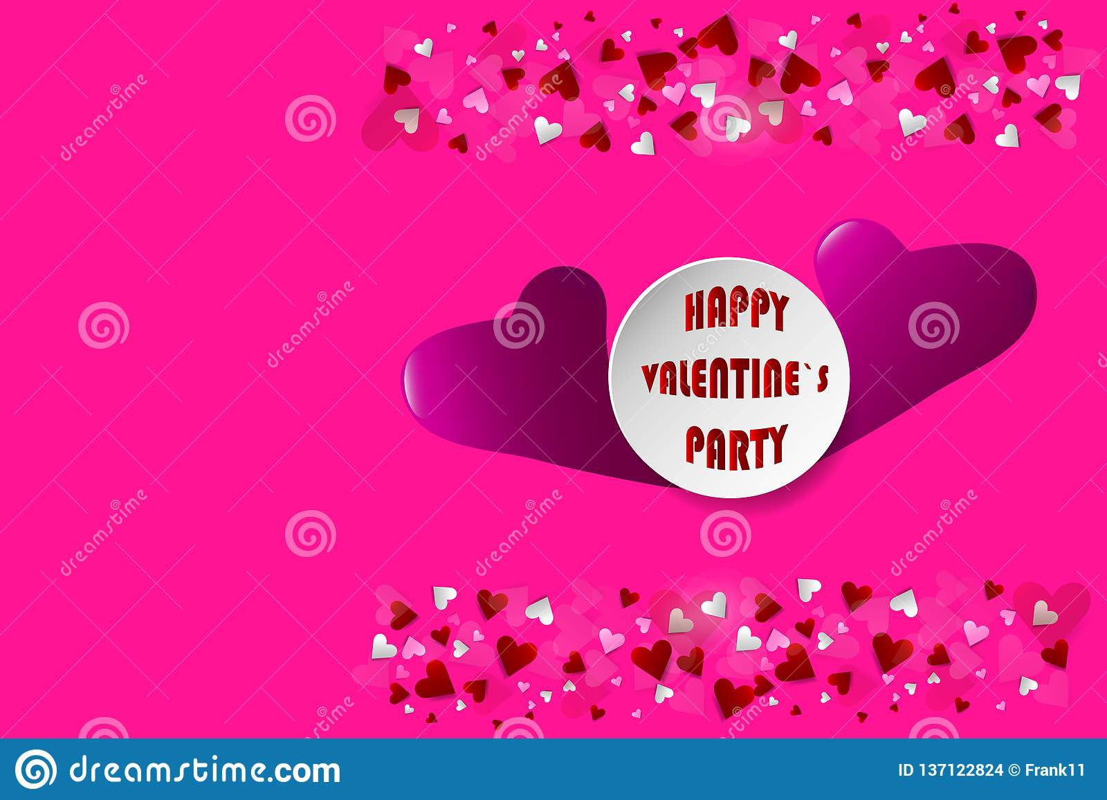 Happy Valentine\'s Party postcard stock images