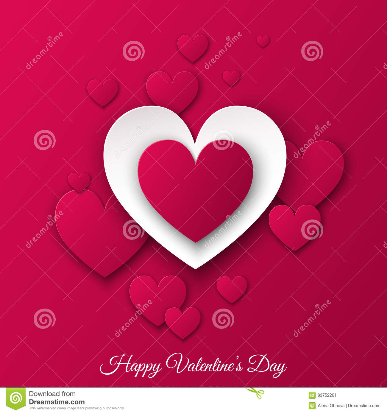 Happy Valentines Day Background With Pink Cut Paper Hearts Stock