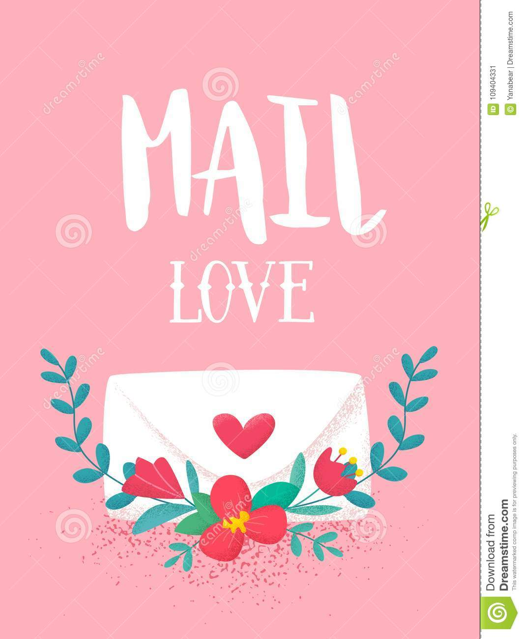 Happy Valentines Day Banner With Cute Flowers And Love Letter On