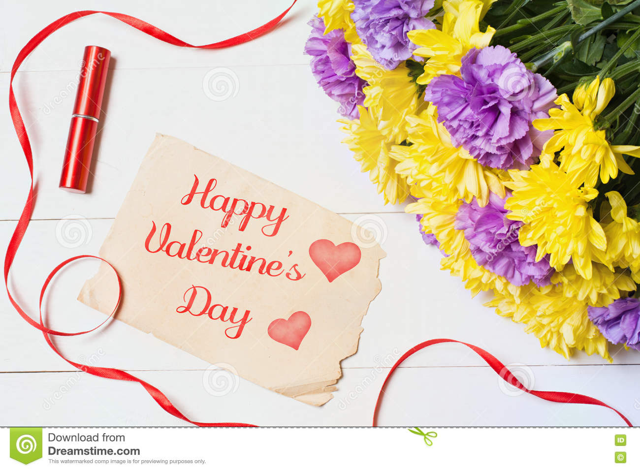 Happy valentines day beautiful flowers on white wooden table stock happy valentines day beautiful flowers on white wooden table izmirmasajfo