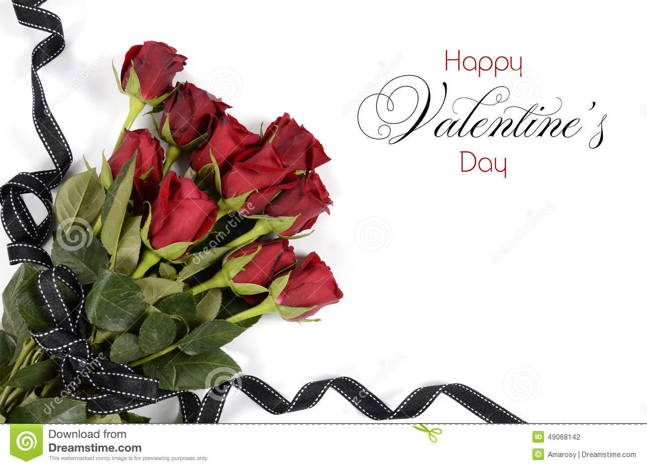 Happy Valentines Day Bouquet Of Red Roses Stock Photo Image Of