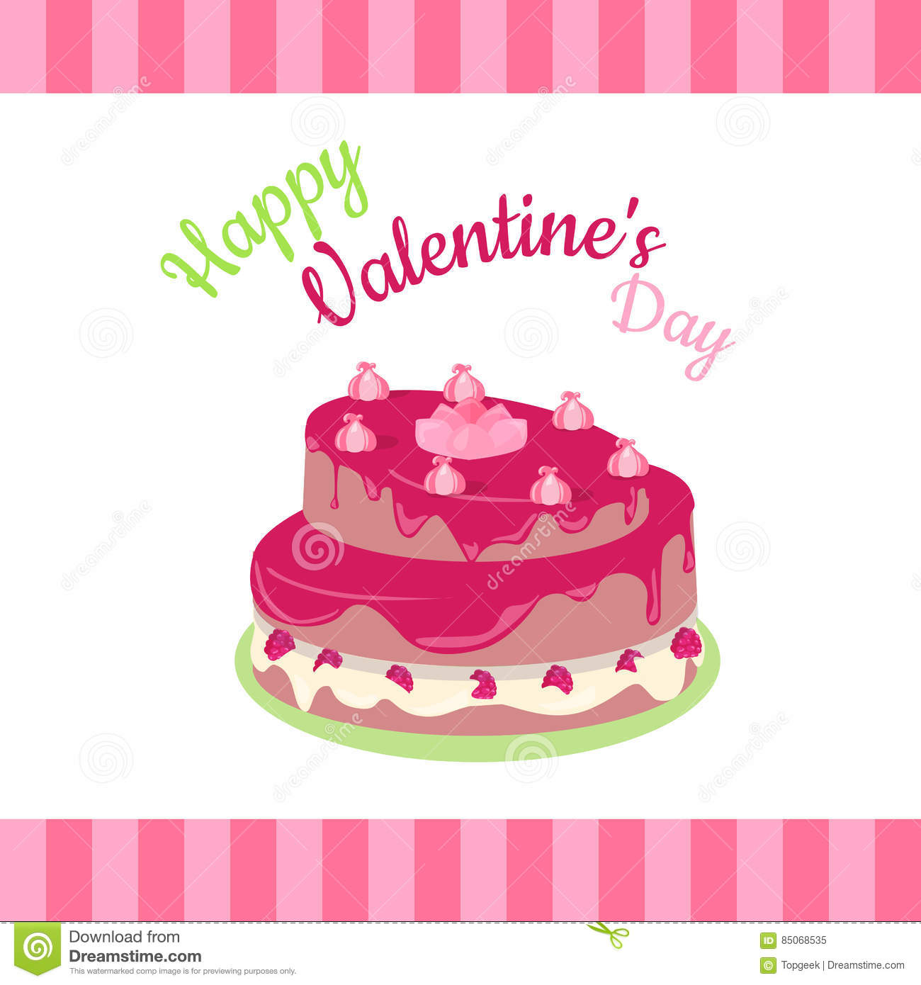 Happy Valentines Day Cake With Strawberries Isolated Stock Vector