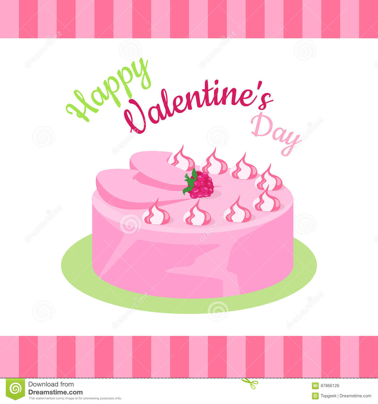 Amazing Happy Valentines Day Cake With Strawberries Isolated Stock Vector Birthday Cards Printable Riciscafe Filternl