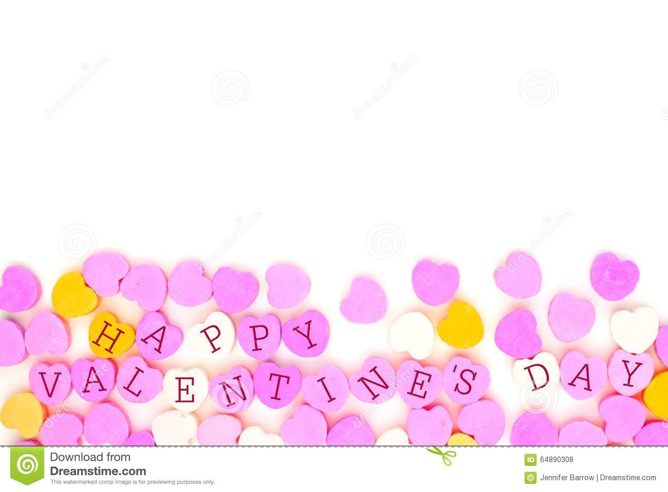 Happy Valentines Day Candy Hearts Bottom Border Over White Stock