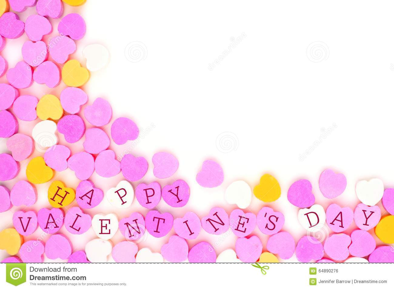 Happy Valentines Day Candy Hearts Corner Border Over White Stock