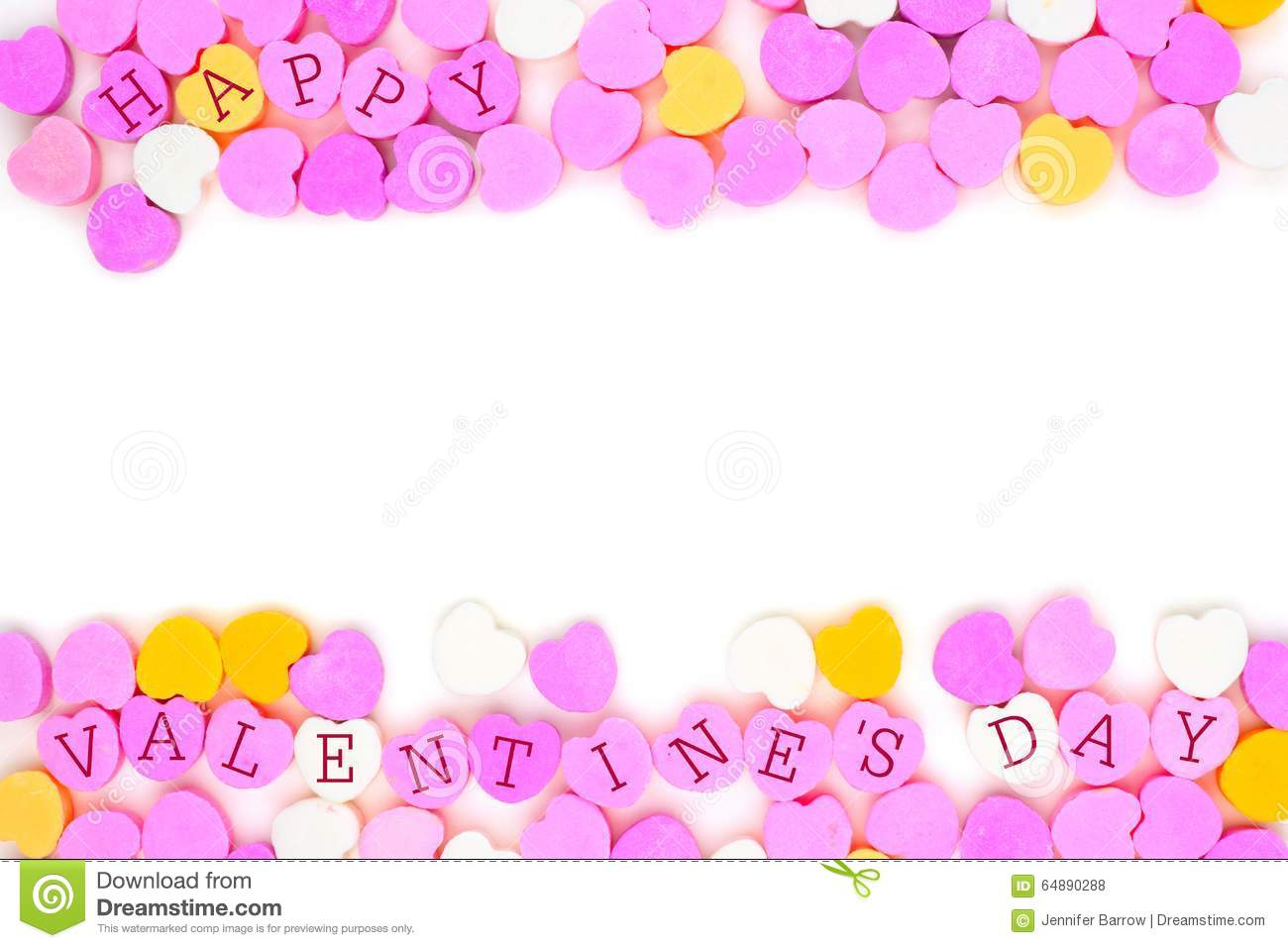 Happy Valentines Day Candy Hearts Double Border Over White Stock
