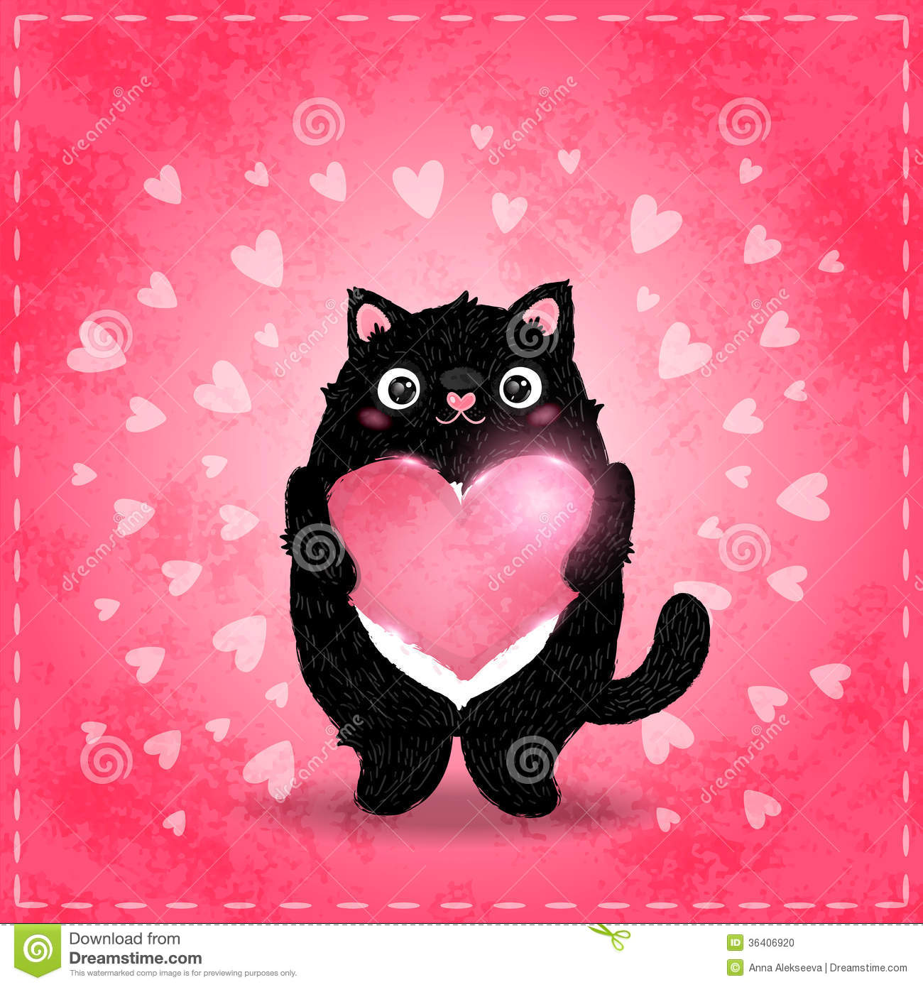 Happy Valentines Day Card With Cat And Heart