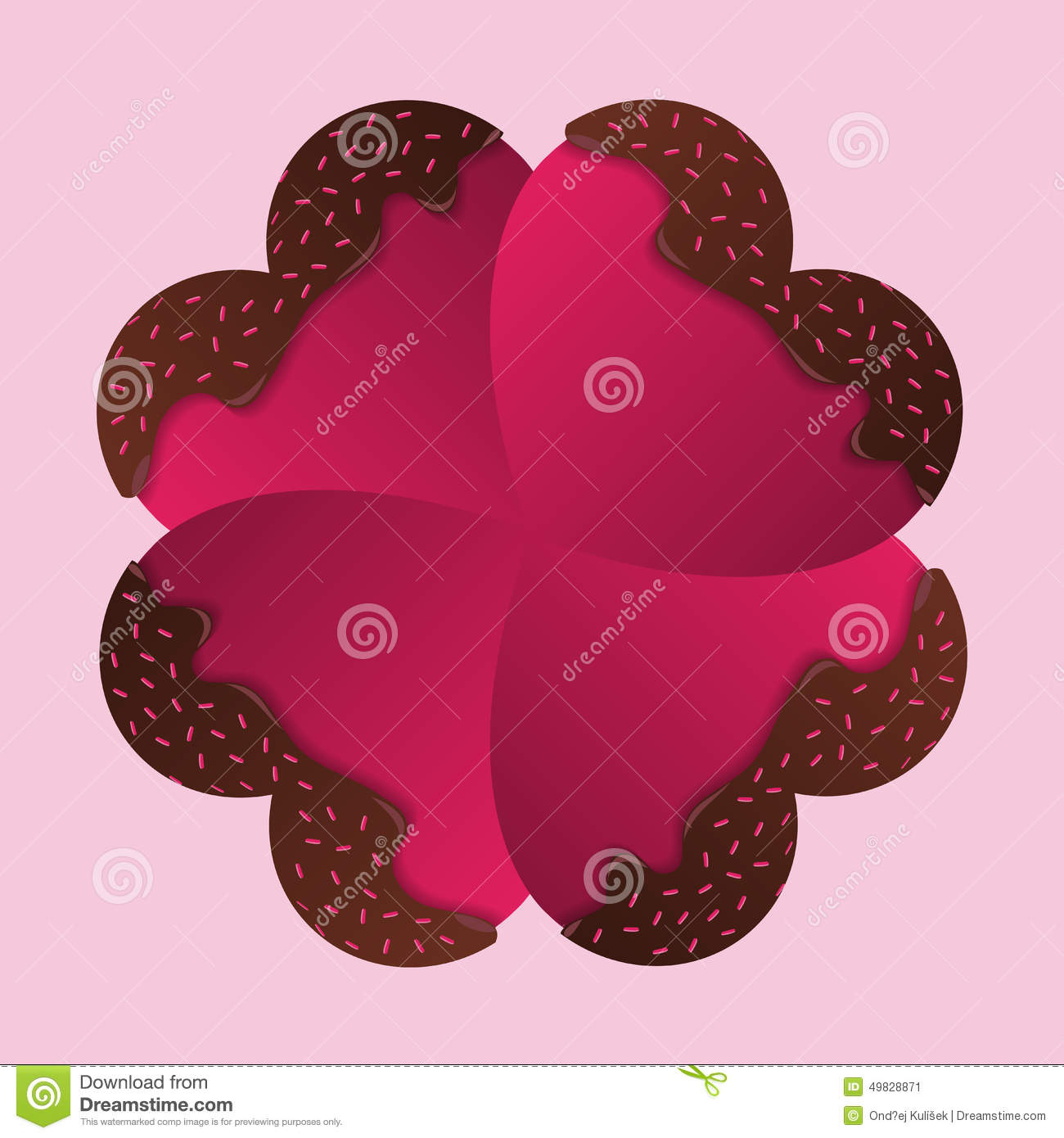 Happy Valentines Day Card Chocolate Hearts Vector Stock Vector