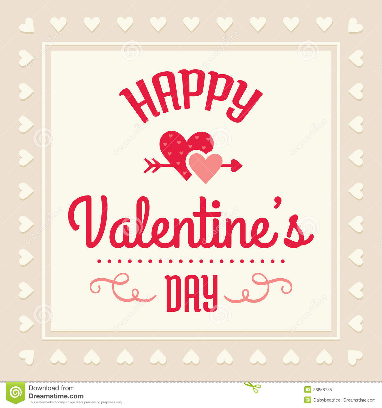 Happy Valentines Day Card Stock Vector Illustration Of Curl 36858816