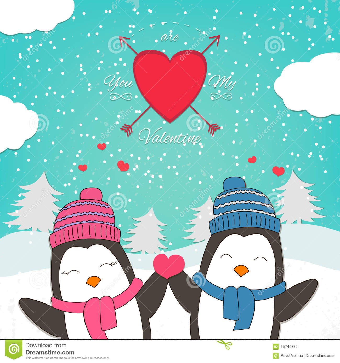 Happy Valentines Day Card With Cute Couple Penguin Vector – Valentines Day Cute Cards