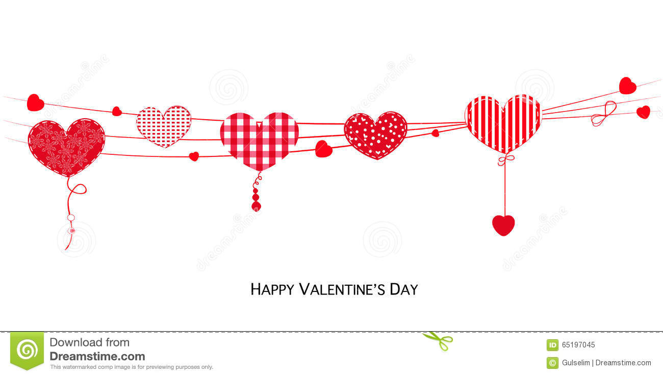 Happy Valentines Day Card With Hanging Love Valentines Hearts Banner Vector