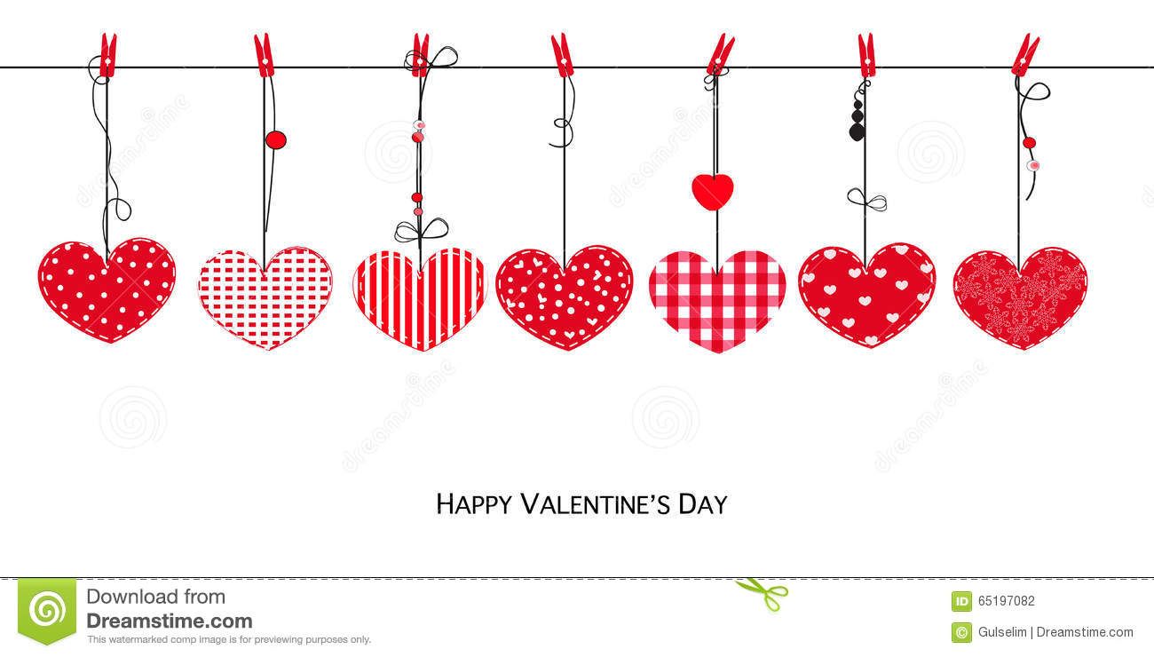 Happy valentines day card with hanging love