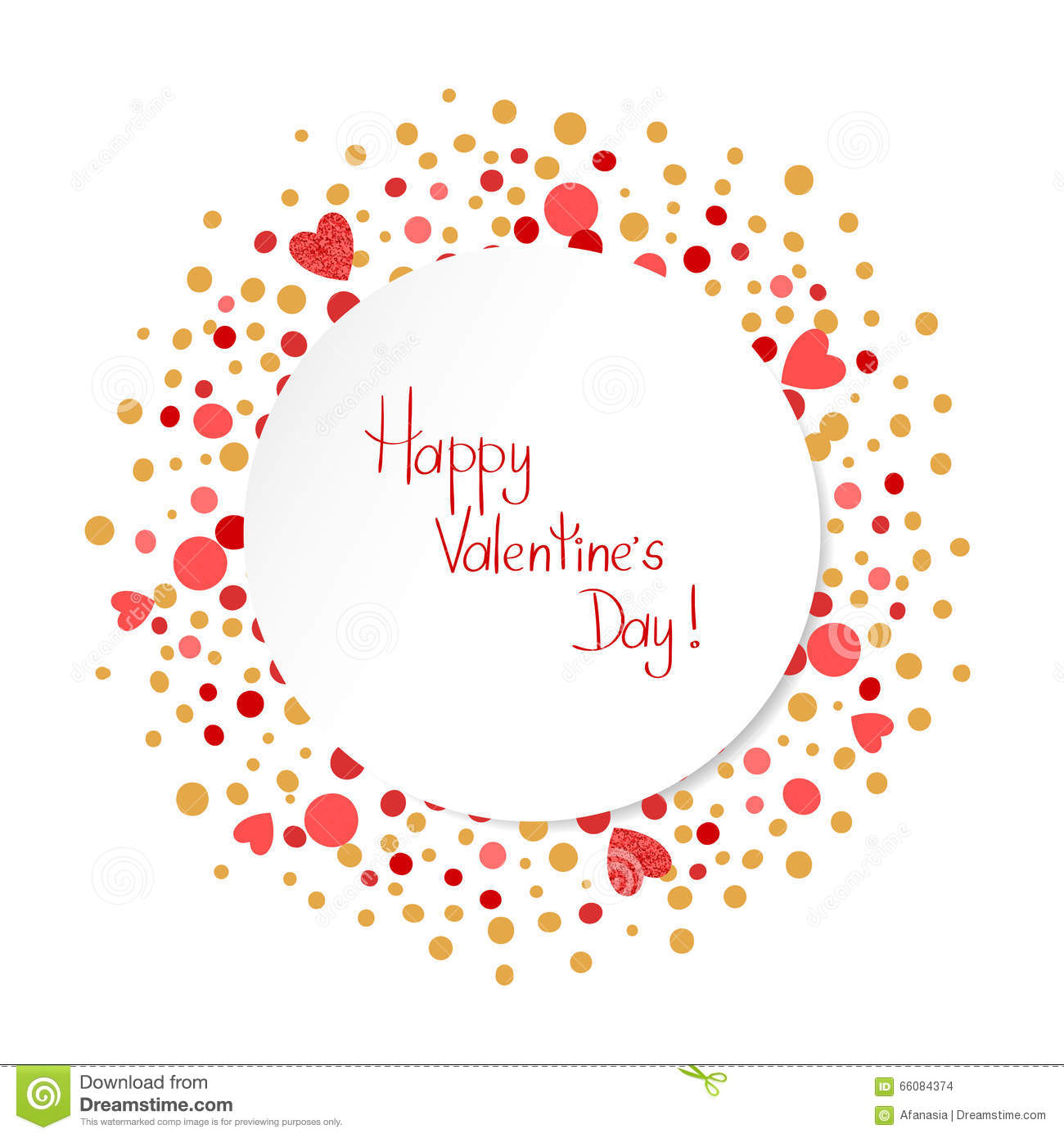 Happy Valentines Day Card Template Romantic Background Stock