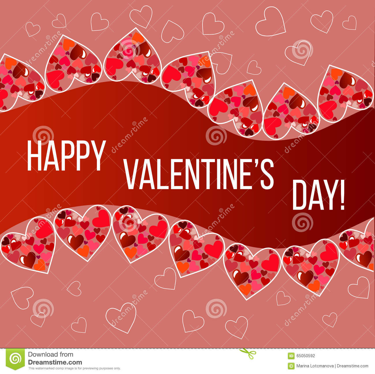 Happy Valentines Day Card Vector Flyer Background With Hearts Stock