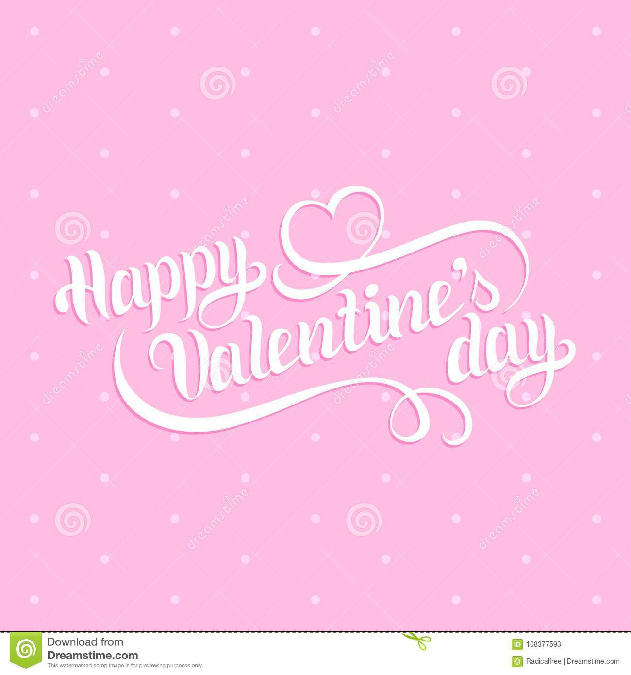Happy Valentines Day Hand Lettering February 14 Greeting Card