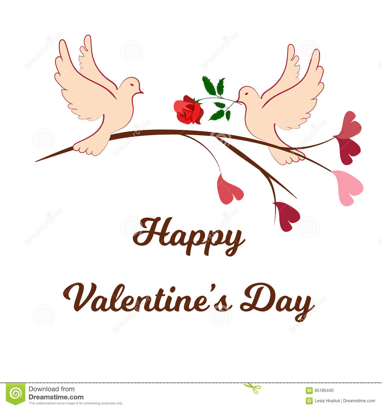 Happy Valentines Day Cards With Ornaments Hearts Ribbon Angel And