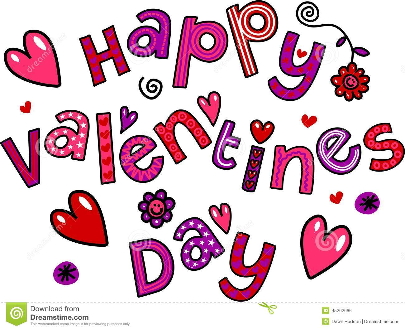 Happy Valentines Day Cartoon Doodle Text Stock Illustration
