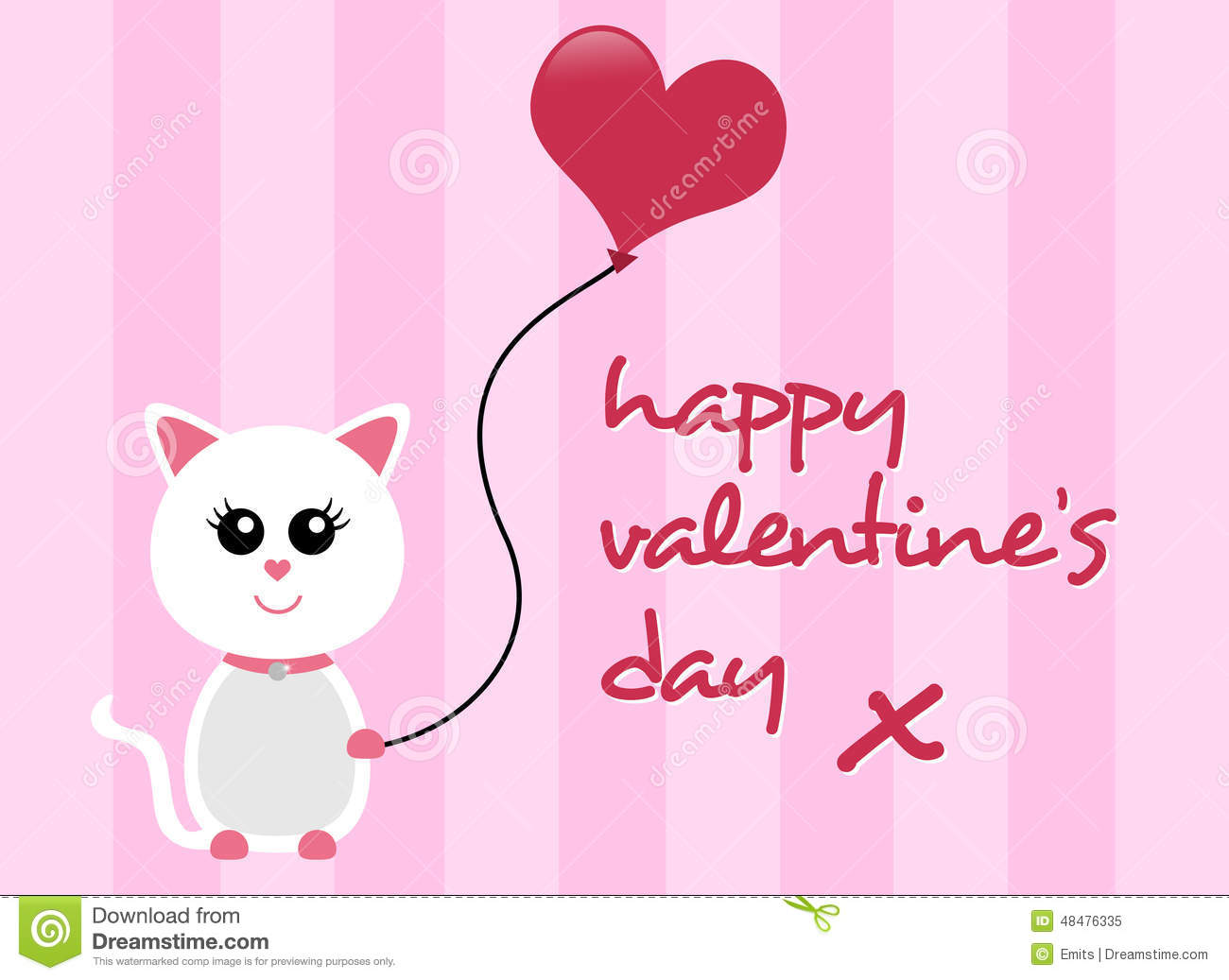 Happy valentines day cat greeting stock photo image 48476335