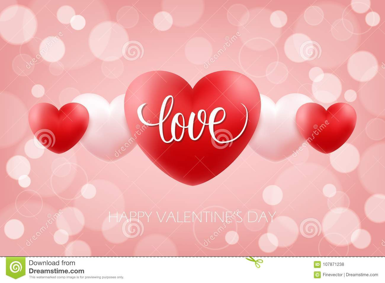Happy valentines day celebrate background with handwritten word love happy valentines day celebrate background with handwritten word love and realistic hearts 14 february holiday greetings vector illustration m4hsunfo