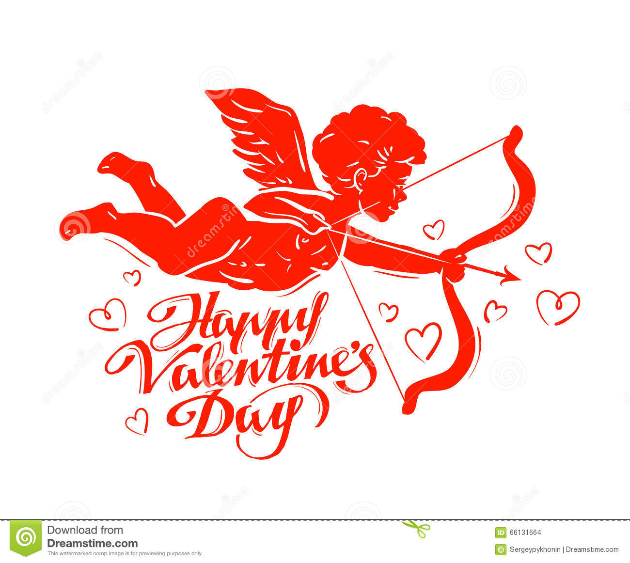Happy Valentines Day. Cupid Or Angel. Vector Illustration