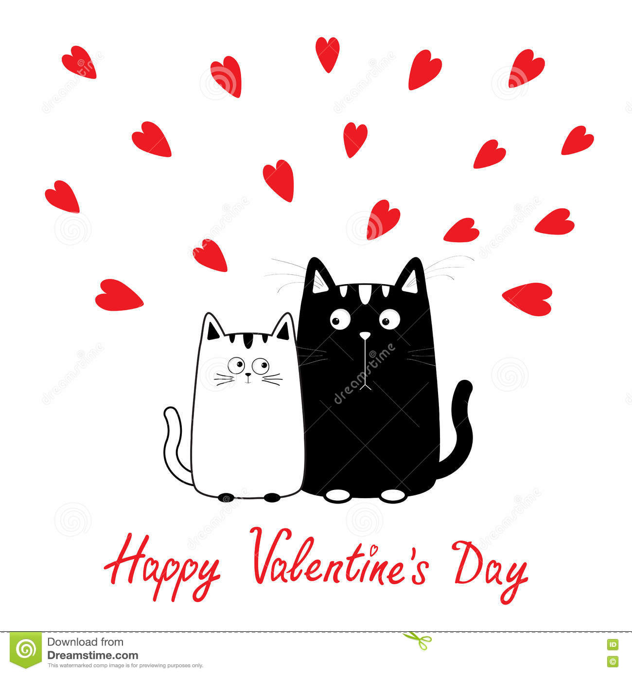 Happy Valentines Day Cute Cartoon Black White Cat Boy And Girl