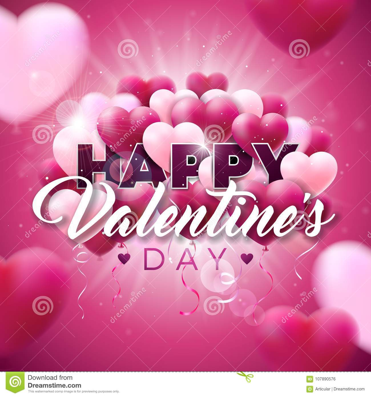 Happy Valentines Day Design With Color Balloon Heart And Typography ...