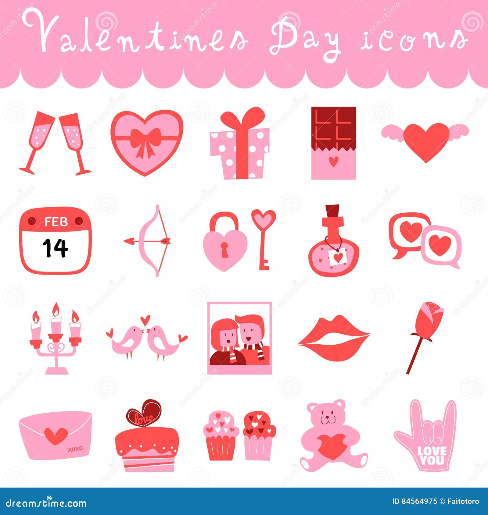 Happy valentines day doodle icons