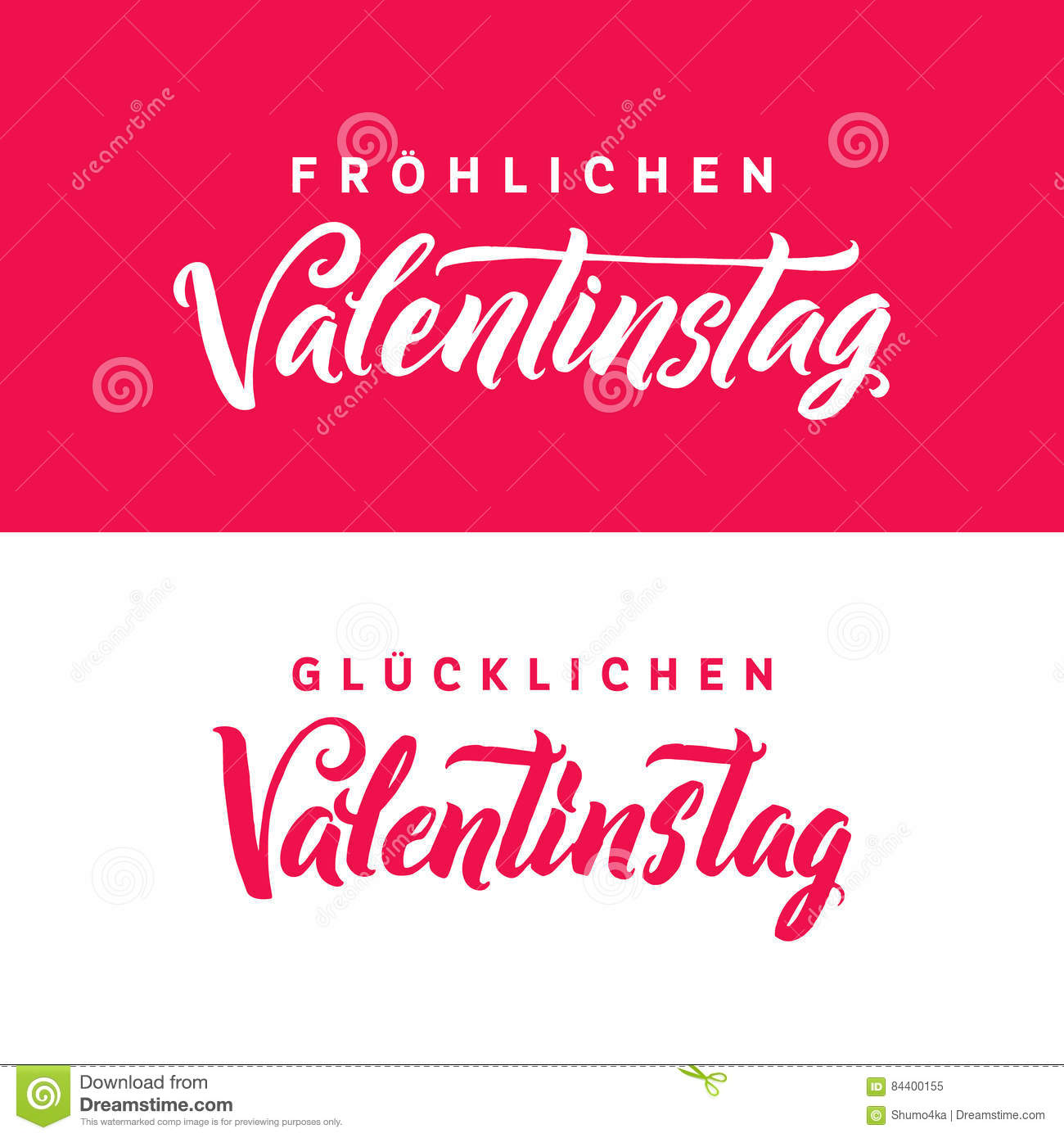 happy valentines day german black and pink lettering greeting card white background hand drawn