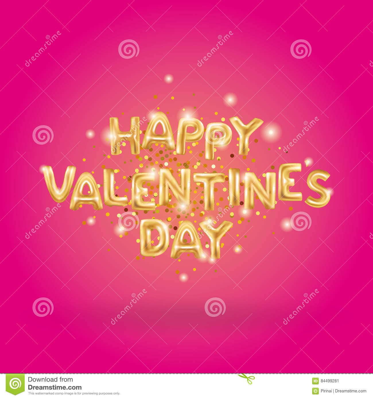 Happy Valentines Day Gold Balloons Stock Vector - Illustration of ...