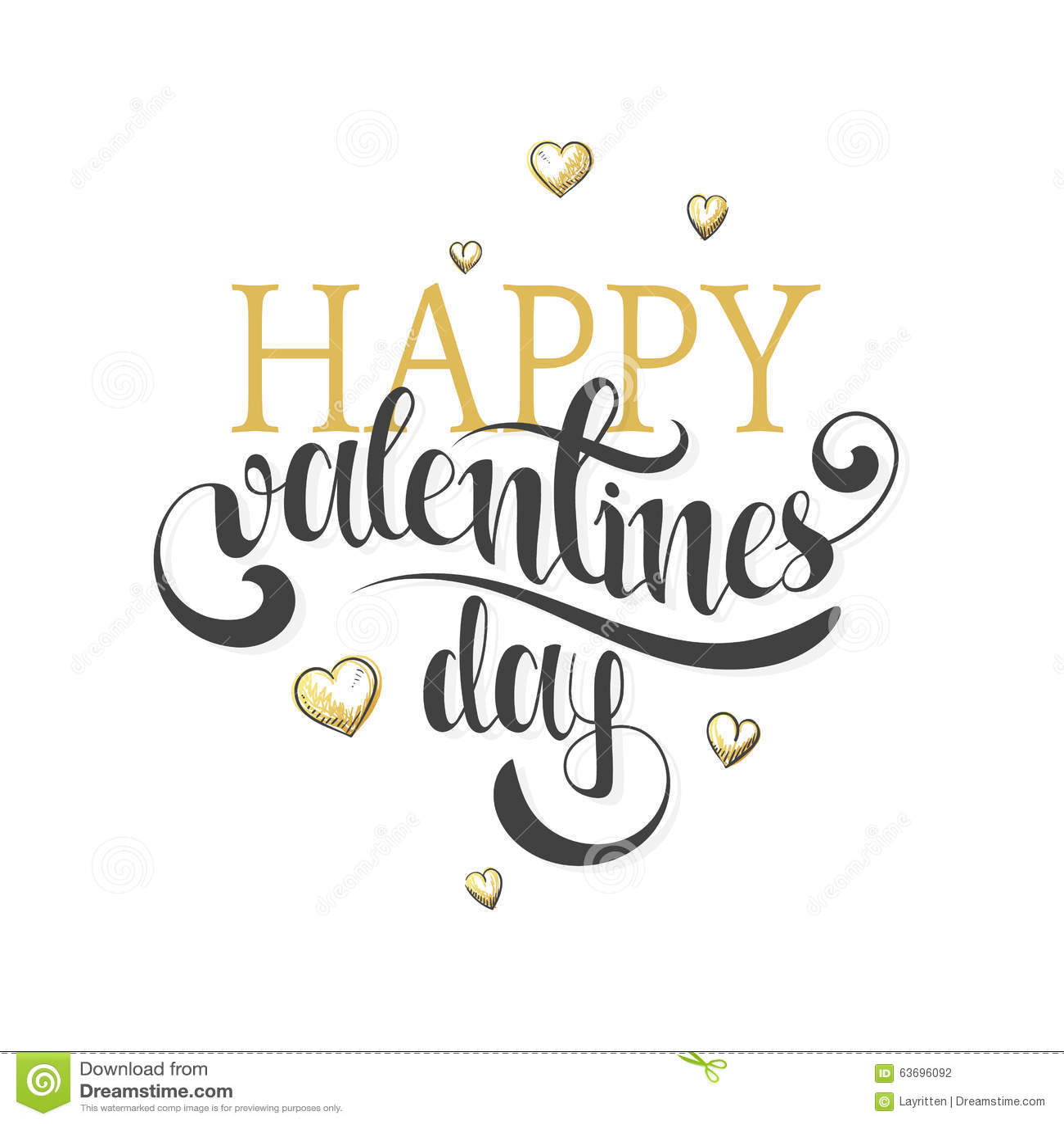 Stock Vector Happy valentines day. Gold phrase handmade. Stylish