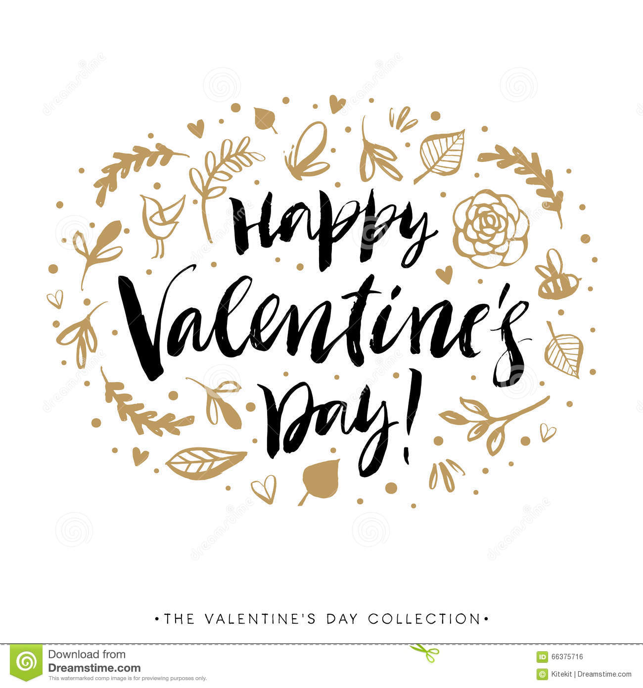 Happy valentines day greeting card calligraphy hand drawn