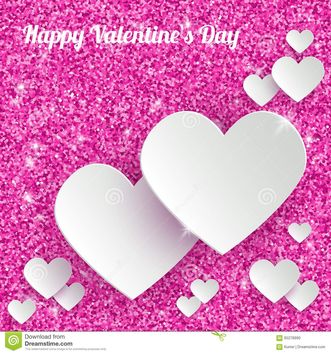 Happy valentines day greeting card with 3d white stock vector happy valentines day greeting card with 3d white kristyandbryce Image collections