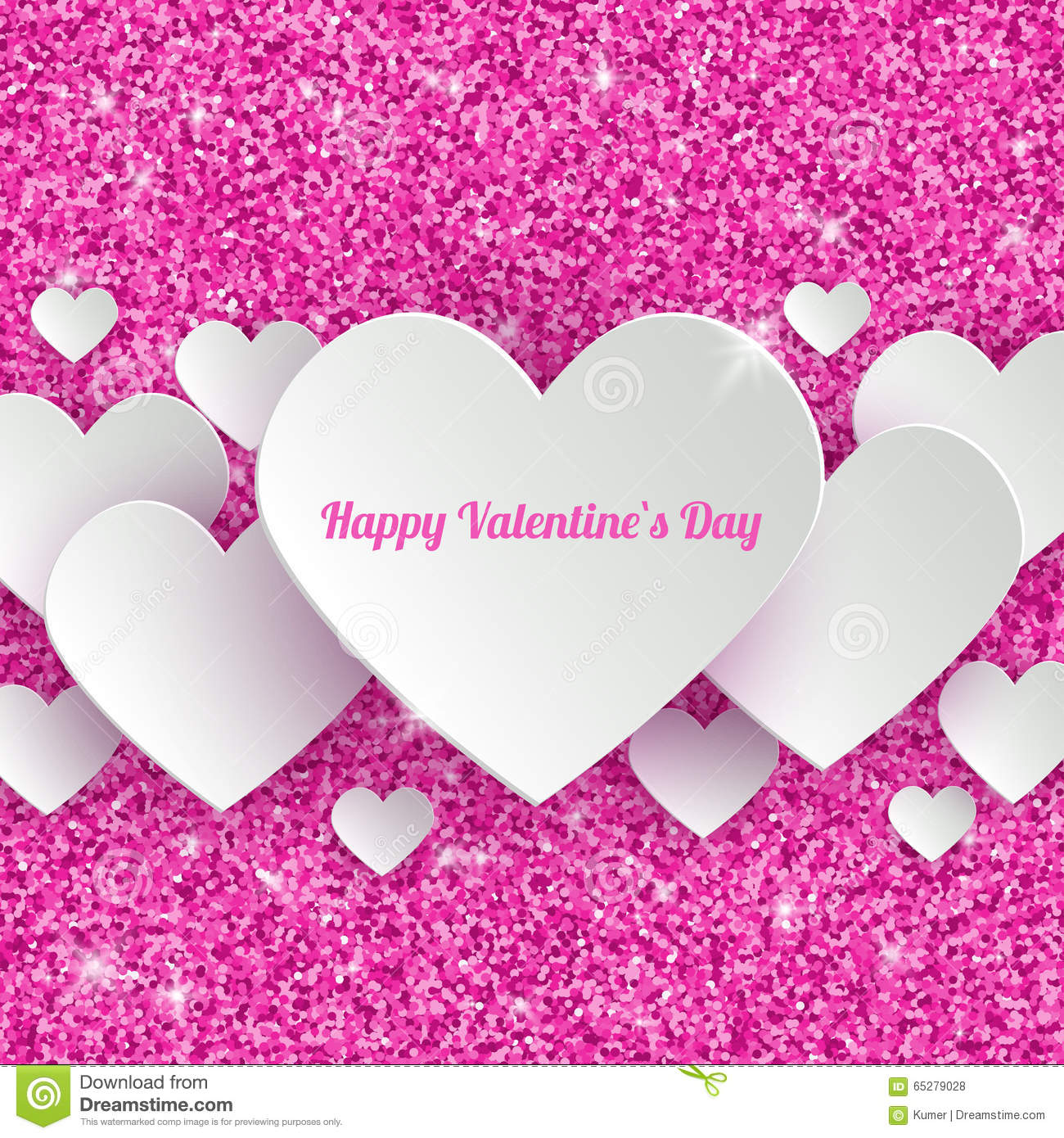 Happy valentines day greeting card with 3d white stock vector happy valentines day greeting card with 3d white glossy glittering kristyandbryce Image collections