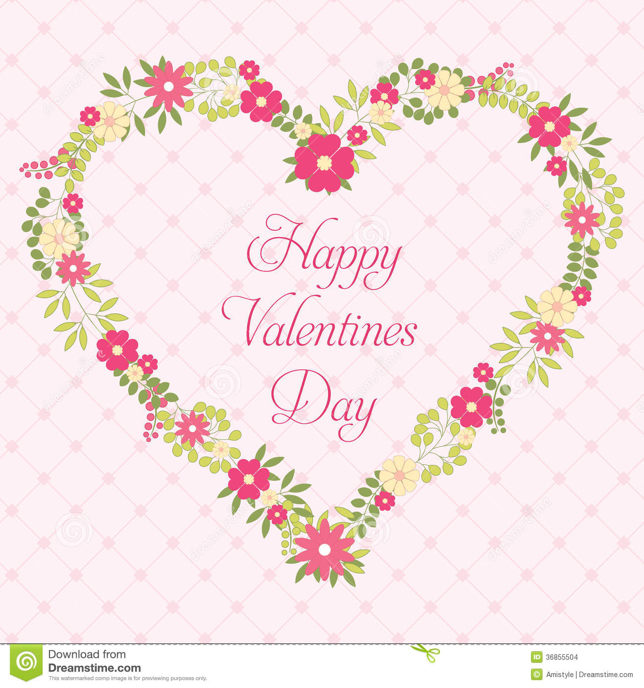 Happy Valentines Day Greeting Card With Flowers In Vintage Style