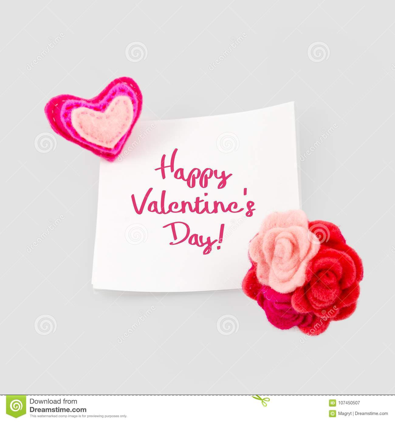 Happy Valentines Day Greeting Card Heart And Love Message On Stick