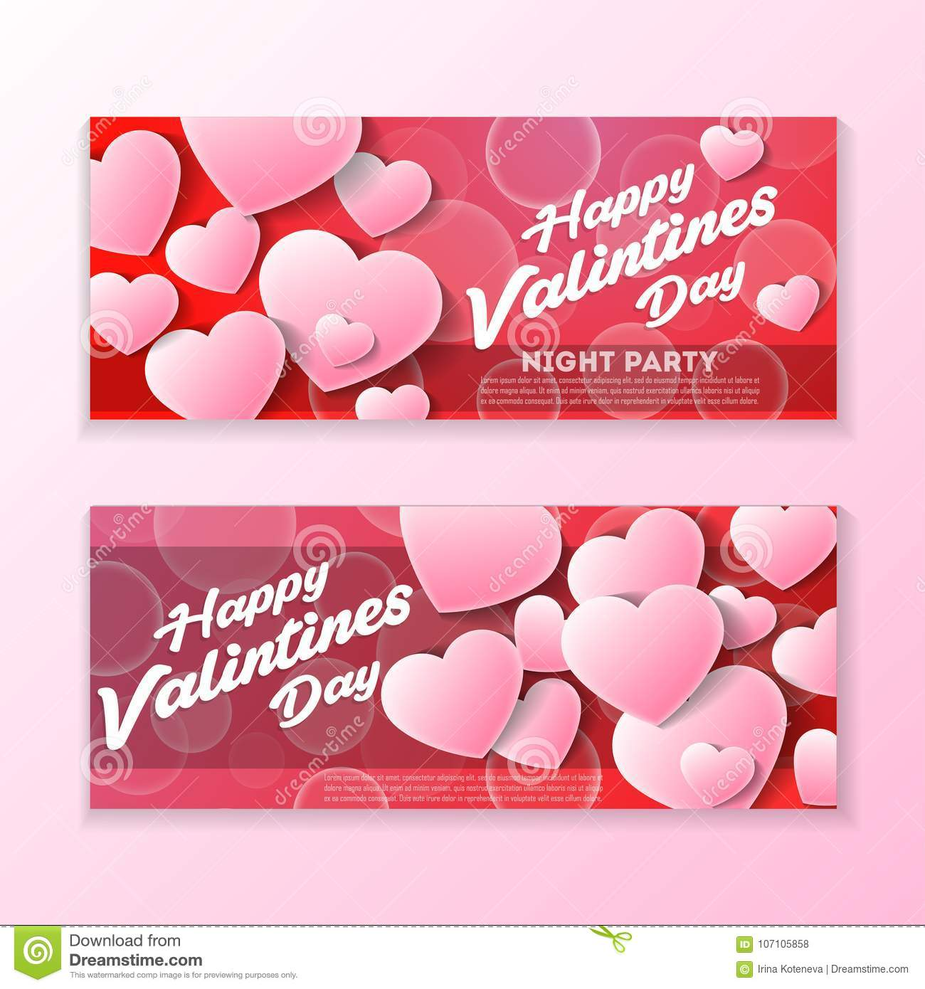 Happy Valentines Day Greeting Card Template Stock Vector ...