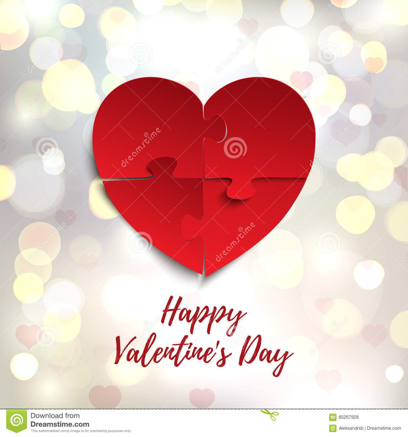 Happy Valentines Day, Greeting Card Template. Jigsaw Puzzle Pieces